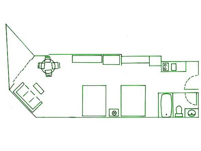floorplan of two queen bed and sofa room