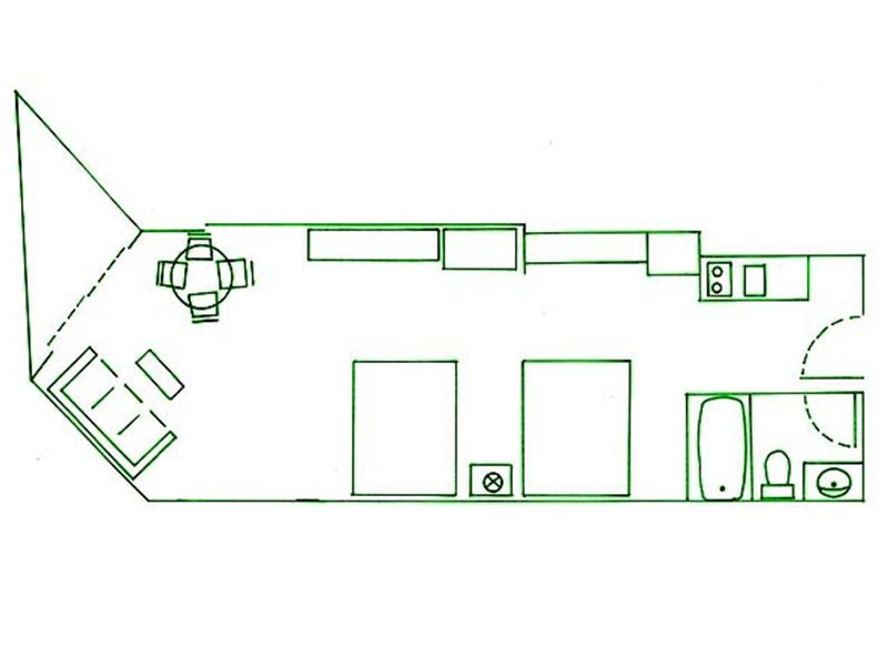 two king beds and sofa hotel room layout